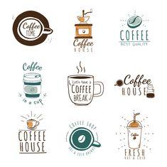 Set of coffee shop logos vector Free Vec. Logo Café, Free Illustration, Graphic Illustrations, Coffee House Cafe, Cafe Logos, Logo Boutique, Coffee Doodle, Coffee Icon, Coffee Set