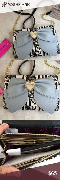 NWT Betsy Bag Cute Crossbody Betsy Johnson Bag with lots of built in room for credit cards, cash money  and a zipper change purse. Not adjustable. Strap may be removed. Betsey Johnson Bags Crossbody Bags