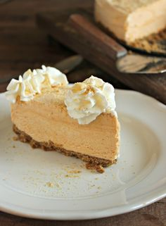 Frozen Pumpkin Pie Cheesecake-  #ThanksgivingRecipes #softfoodrecipes