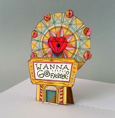 Do you wanna go faster!? Ferris Wheel Pop Up Card Download. Full color template with instructions. Great intro into paper engineering for pop up cards.  HAVE A SUMMAH!