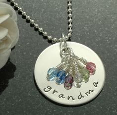 Grandma necklace with birthstones - Hand Stamped Personalized Jewelry