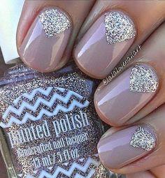 1. Glitter Nail Polish Cuticle Design For Women