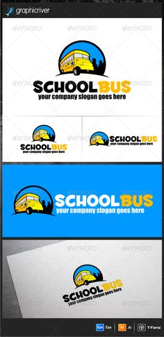 School Bus  - Logo Design Template Vector #logotype Download it here: http://graphicriver.net/item/school-bus-logo-templates/5771792?s_rank=258?ref=nexion