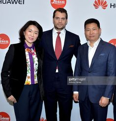 Glory Zhang, Henry Cavill and Richard Yu, Chief Executive Officer of Huawei Cunsumer Business Group attend the Huawei P9 global launch at Battersea Evolution on April 6, 2016 in London, England.