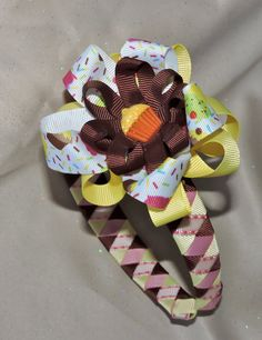 Cupcake Girls Ribbon Woven Headband with Coordinating, Detachable Bow by AdelaidDesigns on Etsy