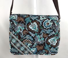 8ec8deb8e366 VERA BRADLEY Messenger Bag Large Crossbody Purse JAVA BLUE Brown Laptop