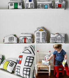 house pillow - I've got loads of this Ikea fabric, can't believe I haven't done this yet! Ikea Fabric, Car Fabric, Fabric House, Casa Kids, Kids Decor, Home Decor, Diy Pillows, Fashion Room, Kid Spaces