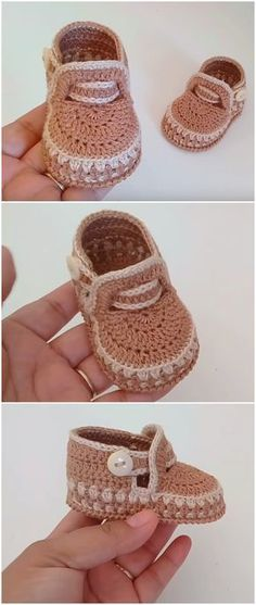 crochet baby boots Crochet baby shoes always looks very lovely. Today you have a perdect chance to make cute baby shoes for your baby girl or boy. This crochet video tutorial is exce Crochet Baby Boots, Booties Crochet, Crochet Baby Clothes, Crochet Shoes, Crochet Slippers, Baby Booties, Crochet Coat, Crochet For Kids, Easy Crochet