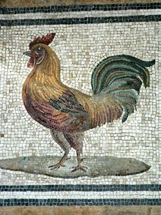 Roman Mosaic. Rooster. Rome, Italy.