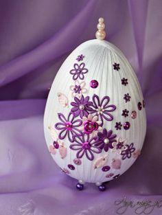 Пасхальные яйца, декорированные шелковыми лентами. Фото МК.   ШТОРЫ, ЛАМБРЕКЕНЫ, ДОМАШНИЙ ТЕКСТИЛЬ СВОИМИ РУКАМИ