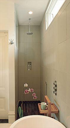 Wide Open Baths For Small Spaces   Doorless Shower, Wooden Floor