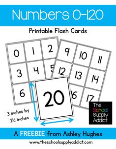 FREE Numbers 0-120 Flash Cards from The School Supply Addict