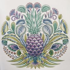 """ Pineapple. Darwent metallic coloured pencils #tropicalwonderland #milliemarotta #colouringbook #darwent #pinapple"""