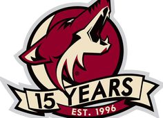 Phoenix Coyotes Anniversary Logo on Chris Creamer's Sports Logos Page - SportsLogos. A virtual museum of sports logos, uniforms and historical items. Hockey Logos, Ice Hockey Teams, Nhl Logos, Mlb Teams, Sports Logos, Coyotes Hockey, Phoenix Coyotes, Arizona Coyotes, Anniversary Logo