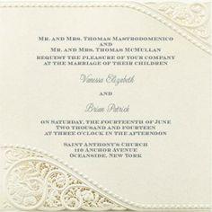 Vanessa and Brian #Ecru #Shimmer #WeddingInvitation featuring #lasercut corners @foreverfriends_  created. #Wedding #Invitations #Vintage http://foreverfriendsfinestationeryandfavors.com