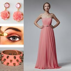 pink abiti da damigella chiffon lunghi