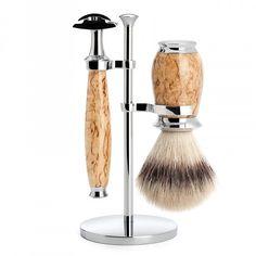 Muhle Purist 3-Piece Shaving Set with Safety Razor and Silvertip Fibre Brush, Karelian Burl Birch Wood | Fendrihan Shaving Store
