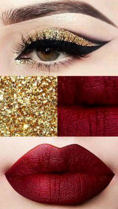 Eye Makeup Steps, Makeup Eye Looks, Eye Makeup Art, Smokey Eye Makeup, Skin Makeup, Gold Eye Makeup, Red Eyeshadow Makeup, Makeup Morphe, Mask Makeup