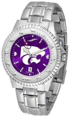 Kansas State Wildcats Competitor AnoChrome Men's Watch with Steel Band by SunTime. $91.67. Showcase the hottest design in watches today! A functional rotating bezel is color-coordinated to compliment the NCAA Kansas State Wildcats logo. A durable, long-lasting combination nylon/leather strap, together with a date calendar, round out this best-selling timepiece.The AnoChrome dial option increases the visual impact of any watch with a stunning radial reflection similar to that...