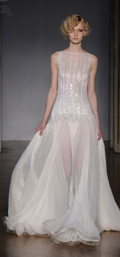 Dilek Hanif  - White beaded sparkling gown