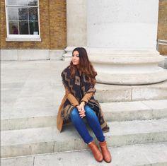 Mimi Ikonn   Brown coat, Toyshop booties, printed blanket scarf, and light wash jeans   OOTD
