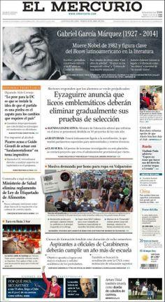 """V., 18 ABR 2014   GABRIEL GARCIA MARQUEZ EN LAS PORTADAS DIGITALES DE LOS PERIODICOS DEL MUNDO - Gabo acapara portadas alrededor del mundo - El periódico """"El Mercurio"""" ..."""