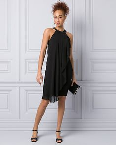 Knit & Chiffon Halter Cocktail Dress - A timeless halter dress is made even more elegant with a cascading chiffon panel.