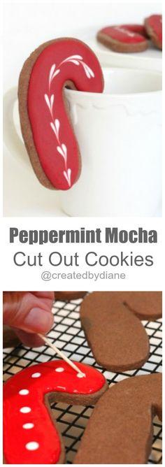 Peppermint Mocha Cut Out Cookies @createdbydiane #Christmas #candycane