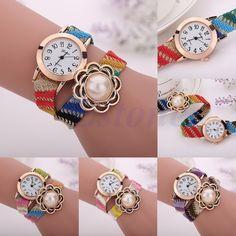 Women Geneva Ethnic Braided Dial Faux Pearl Analog Quartz Bracelet Wrist Watch #Unbranded #Fashion