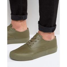 ASOS Oxford Lace Up Sneakers in Khaki ($31) ❤ liked on Polyvore featuring men's fashion, men's shoes, men's sneakers, green, asos mens shoes, mens green shoes, mens lace up shoes, mens oxford shoes and mens canvas sneakers