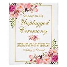 Watercolor Floral Pink Blush Gold Wedding Ceremony Unplugged Poster Size: x Color: gold/pink. Pink And Gold Wedding, Blush And Gold, Floral Wedding, Blush Pink, Fuschia Wedding, Wedding Flowers, Wedding Thanks, Wedding Thank You Cards, Card Wedding