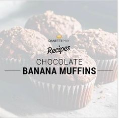 Danette May's Chocolate Banana Muffins - Danette recipes - Banana Recipes Clean Eating Pizza, Clean Eating Salads, Clean Eating Chicken, Clean Eating Breakfast, Clean Eating Recipes, Dannette May Recipes, Banana Recipes, Recipies, Cacao Recipes