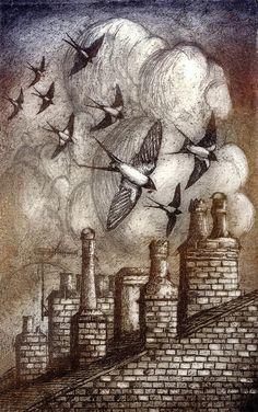Swallows Feeding, etching, Ian MacCulloch-Artist-Printmaker