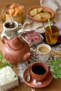 Very Famous drinking tea tradition from Slawi Central Java-Indonesia.The tea serves in the traditional homemade tea set (Teh Poci)