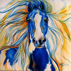 beginning colored pen horse drawings Native American Paintings, Native American Art, Kunst Portfolio, Painted Pony, Horse Drawings, Arte Pop, Stencil Art, Horse Love, Blue Horse