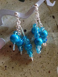 Teal blue glass bead and silver chain dangle post earrings, bohemian earrings, handmade earrings