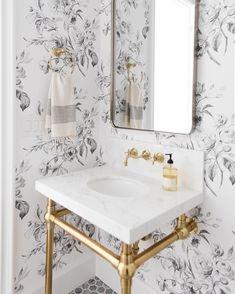 Studio McGee Powder Room black and white floral wallpaper, gold floating sink, modern farmhouse glam bathroom Powder Room Wallpaper, Of Wallpaper, Wall Paper Bathroom, Gold Wallpaper Bathroom, Wallpaper Ideas, Wallpaper For Small Bathrooms, Bathroom Wallpaper Black And White, White Flower Wallpaper, Wallpaper Designs For Walls