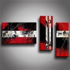 Contemporary Art, Abstract Modern Art, Bedroom Wall Art, Red Canvas Art, Canvas Painting - Silvia Home Craft Contemporary Paintings, Hand Painting Art, Hanging Art, Colorful Paintings, Abstract Wall Art, Abstract, 3 Piece Canvas Art, Canvas Painting, Modern Art Abstract