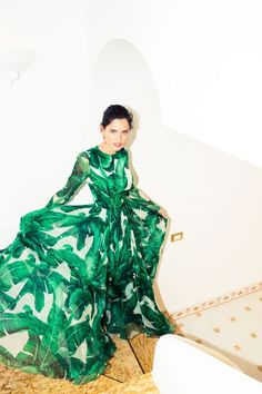 KILLING IT in this banana leaf palm print dress gown