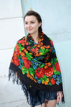 Vintage Ukrainian shawlRussian shawl Wool shawl by bestLuba