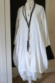 Stunning D'Celli Lagenlook 100 Linen Parachute Coat Size XL White | eBay