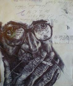 Mark Powell - Bic Biro Drawing on envelope. Biro Drawing, Ink Art, Art Informel, Pen Art, Drawings, Mail Art, Mark Powell, Portrait, Envelope Art