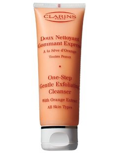 """Clarins One-Step Gentle Exfoliating Cleanser - InStyle Best Beauty Buys 2009 Winner     Tiny, smooth microbeads in this citrus-scented scrub gently remove dirt, loosen dead skin cells and then """"melt away"""" so skin is left clean and soft, says L.A. dermatologist Jessica Wu.  $35/4.4 oz."""