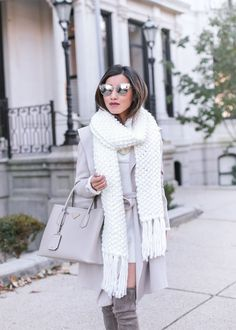 Sharing a winter white look in this cozy cream sweater dress + chunky knit scarf Cream Sweater Dress, Chunky Knit Scarves, Chunky Knits, Chic Winter Outfits, Outfit Winter, Early Black Friday, Extra Petite, Autumn Winter Fashion, Fashion Fall