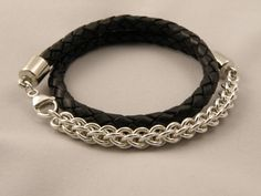 Chain and leather bracelet for men