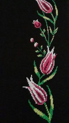 This Pin was discovered by Ayş Cross Stitch Borders, Cross Stitch Rose, Cross Stitch Flowers, Cross Stitch Designs, Cross Stitch Embroidery, Hand Embroidery, Cross Stitch Patterns, Embroidery Designs, Palestinian Embroidery