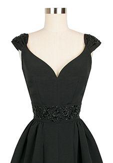 Candice Gwinn Eva Marie Dress | 1950s Inspired Dress | Beaded Black Ribbed Rayon