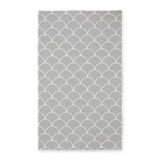Mint and White Scallop Pattern 3'x5' Area Rug for