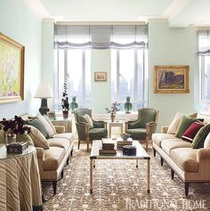 Symmetry in a living room - full size sofas facing each other with 2 identical chairs. Embrace the length of a room. designer - Celerie Kemble #interiordesign #livingroom #furniturelayout