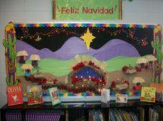Christmas Bulletin Board in Spanish.  Feliz Navidad 2013.  It was created using natural materials.